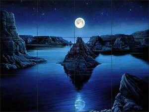 Ceramic Tile Mural Kitchen Backsplash Burmann Moon Landscape Fantasy Art KB010 eBay