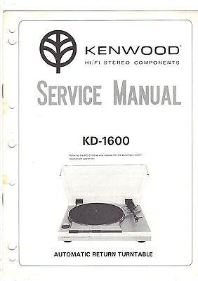 Original Factory Kenwood KD 1600 turntable stereo Service