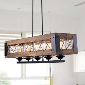 details about rustic wood island lighting kitchen chandelier linear 5 lights wooden pendant