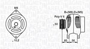 Alternator Magneti Marelli Fits OPEL Astra F Vectra B
