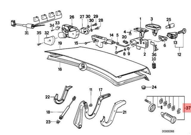 Genuine BMW E32 Tailgate Trunk Lid Lock Cylinder Repair