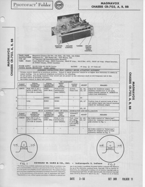 1956 MAGNAVOX CR-703 RADIO SERVICE MANUAL PHOTOFACT