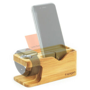 Spigen® Apple Watch & iPhone [S370] Stand Bamboo Charging Dock Station Case