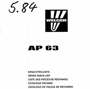 Welger AP63 Baler Parts Manual (PDF file) SPARE PARTS LIST