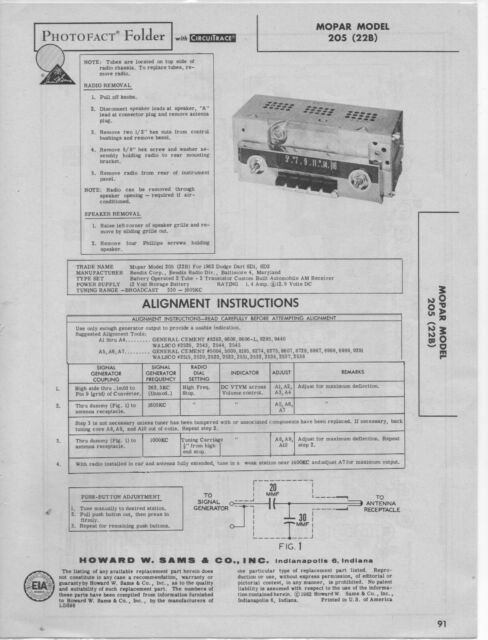 1962 DODGE DART 205 RADIO SERVICE MANUAL PHOTOFACT