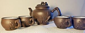 Vintage Yixing Hand Made Teapot w/ 4 cups Set w/ Grasshopper, Leaves, Branches