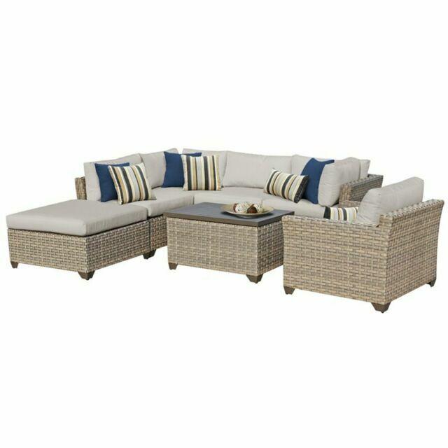 tk classics monterey 7 piece outdoor wicker patio furniture set 07d