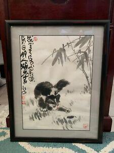 Cat Finger Painting : finger, painting, Finger, Painting, Original, Watercolor, Bamboo, Signed, Framed