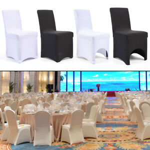 white folding chair covers ebay revolving manufacturers in ahmedabad 50 100 black wedding dining party banquet spandex seat details about cover