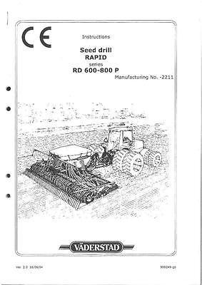 VADERSTAD SEED DRILL RAPID SERIES RD600P RD800P OPERATORS
