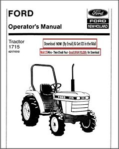 Ford 1715 Tractor Owner Operators Maintenance Lubrication