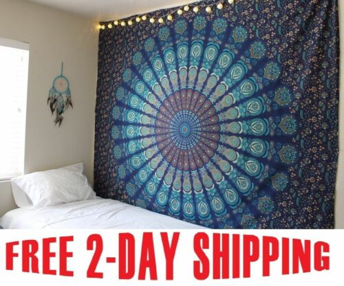 Indian-Mandala-Tapestry-Hippie-Wall-Hanging-Blue-Bohemian-Bedspread-Dorm-Decor