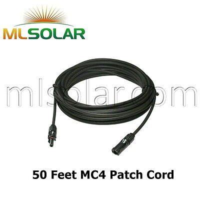 50 FT Solar Panel Extension Cable 10 AWG PV Wire Male
