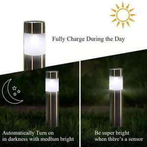 details zu solar bollard post lights garden driveway outdoor led lighting lampe