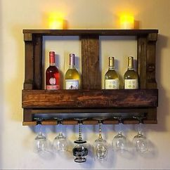Wall Mounted Kitchen Shelves Utility Knife Handmade Rustic Wood Wine Rack Shelf Image Is Loading