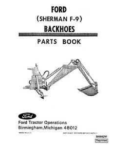 NEW HOLLAND Ford Pa8629A Sherman F-9 Backhoe PARTS CATALOG
