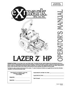eXmark Lazer Z HP Operators Manual & Part List Diagrams
