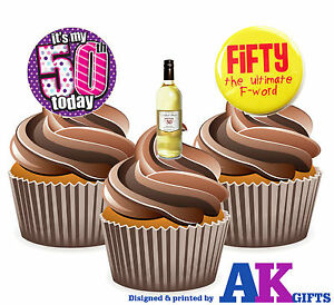 Details About 12 X Funny 50th Birthday Ladies Wine 50th Mix Edible Cake Toppers Stand Ups