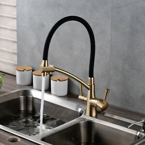 black kitchen faucet island chandelier gold brass pure dual handles deck mounted image is loading