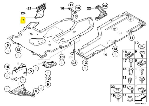 04-10 BMW E63 M6 M5 Under Body Splash Guard Cover OEM
