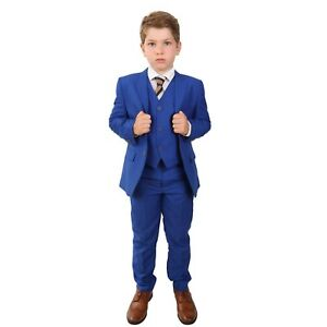 details about boys formal royal blue suit italian wedding prom 5 piece pageboy saks blue suits
