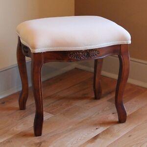 Wood Vanity Stool Ottoman Carved Upholstered Footstool