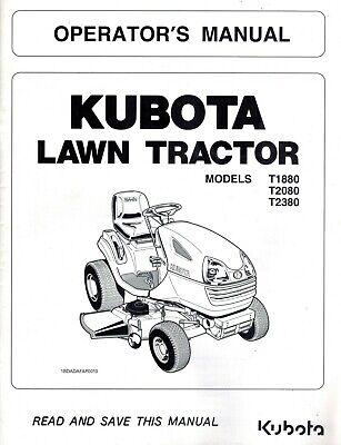 KUBOTA T1880 T2080 T2380 LAWN TRACTORS OPERATOR'S MANUAL