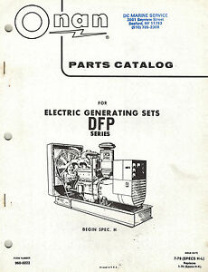 ONAN DFP ELECTRIC GENSETS OPERATOR/ PARTS MANUAL 1979 960