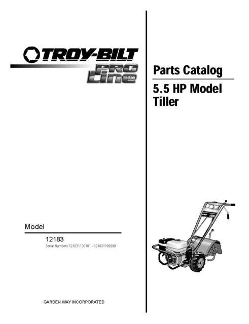 Troy Bilt 12183 Pro Line Tiller 5.5 HP Repair Replacement