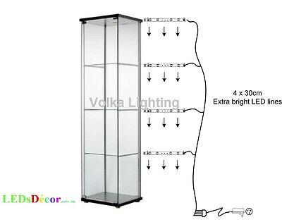 glass display cabinet lights warm white ebay