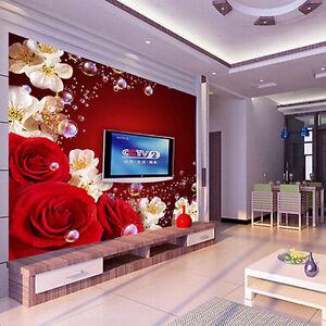 wallpaper living room wall prints 3d bedroom mural modern tv rose background image is loading