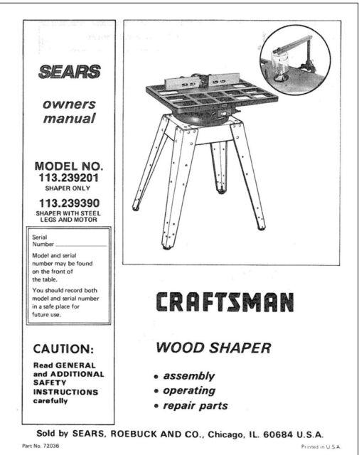 Craftsman 113.239201 113.239390 Shaper Owners Instruction