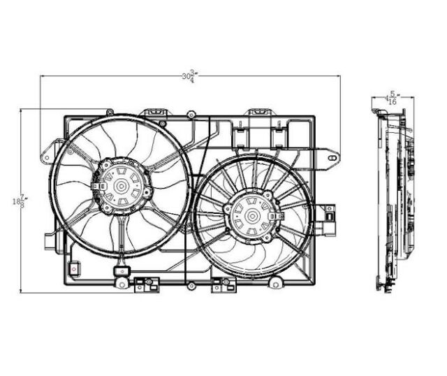 Dual Radiator and Condenser Fan Assembly TYC 622300 fits