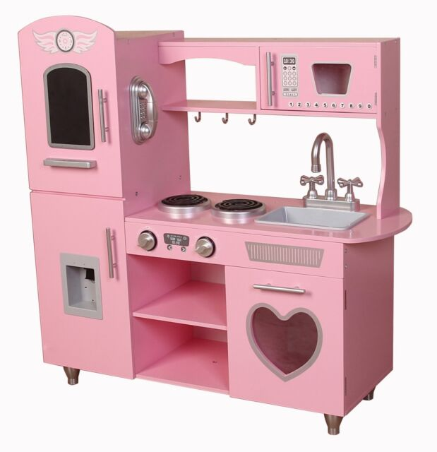 retro kids kitchen roman shades kiddi style chefs heart pink xlarge childrens play toy wooden