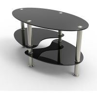 BLACK GLASS OVAL COFFEE TABLE WITH SHELVES AND CHROME LEGS ...