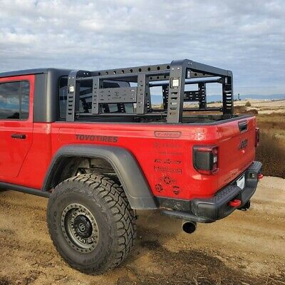 zroadz overland bed rack system w led light pods jeep gladiator ebay