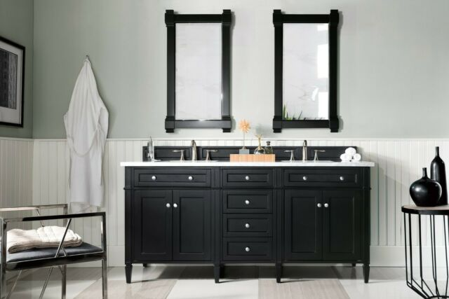 72 James Martin Brittany Black Onyx Double Bathroom Vanity White Marble Top For Sale Online