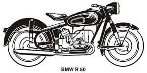 BMW R50 VINTAGE MOTORCYCLE ART GRAPHIC DRAWING POSTER