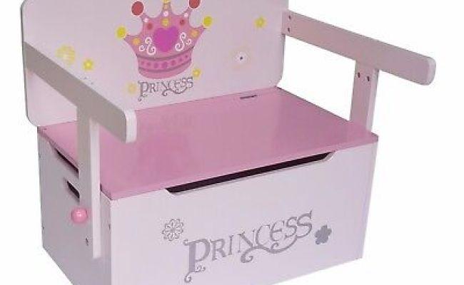 Kiddi Style Childrens Girls Princess Wood 3in1 Toy Box