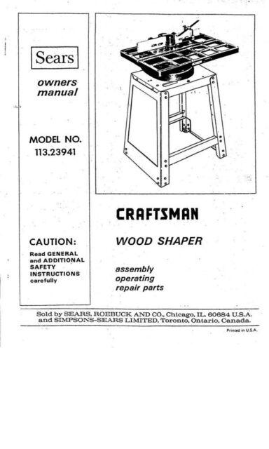 1975 Craftsman 113.23941 Wood Shaper Instruction manual