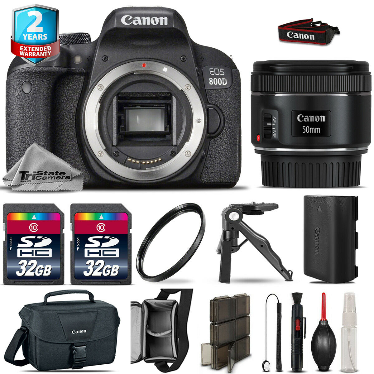 Canon Rebel 800D T7i Camera + 50mm 1.8 + LED +CASE + EXT BAT +32GB +2yr Warranty