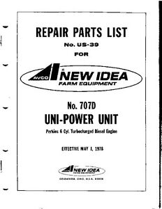 AVCO New Idea Parts List 707D Uni-Power Unit Perkins 6 Cyl