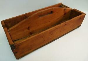 ANTIQUE PRIMITIVE CARPENTERS TOOL CARRIER BOX TOTE TRAY