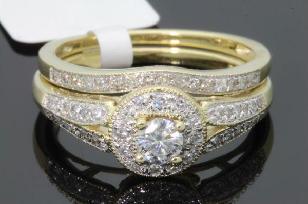 10k Yellow Gold .48 Carat Womens Real Diamond Engagement Ring Wedding Band Set