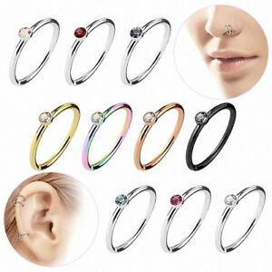 Nasenpiercing Hoop Septum Ring Ohrring Tragus Daith Helix Piercing mit Kristall