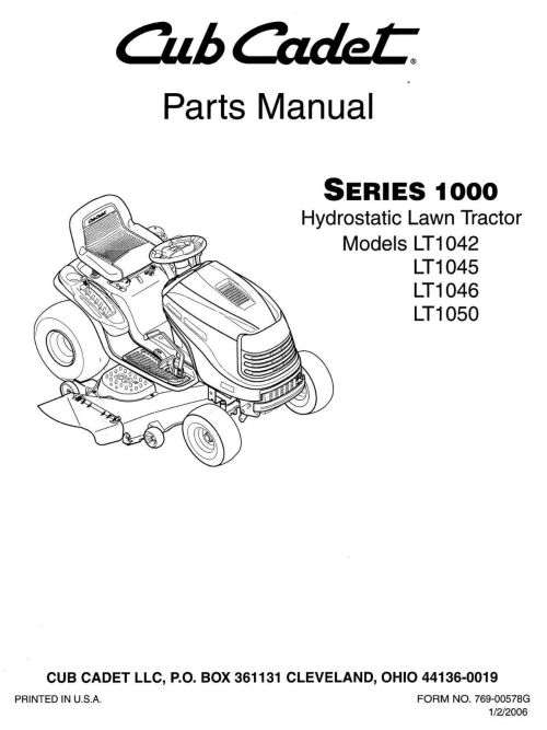 small resolution of cub cadet parts manual for lt1042 lt1045 lt1046 lt1050 for sale cub cadet parts diagram lt1045 cub cadet parts diagram