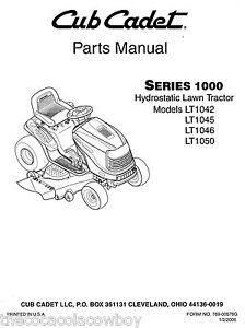 Cub Cadet LT1042 LT1045 LT1046 LT1050 Parts Manual | eBay