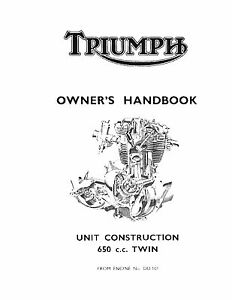 Triumph Owners Manual Book 1963 Thunderbird 6T, Trophy TR6