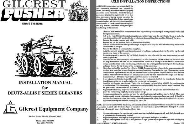 Gilcrest Pusher Drive Systems Installation Manual for