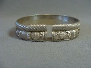 Antique Chinese Export Silver Hand Carved Relief Signed Double Stack Bracelet